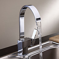 Contemporary / Modern Tall/­High Arc Deck Mounted Waterfall with  Ceramic Valve Single Handle One Hole for  Chrome , Kitchen faucet