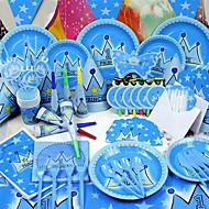 מקלחת בייבי / יום הולדת מפלגה כלי שולחן-84יחידה / סט קרניים / כובעים / סטים של כלי שולחן נייר באיכות גבוהה נושא אגדות לא מותאם אישית כחול