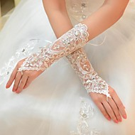 Elbow Length Glove Tulle Bridal Gloves Spring Summer Fall Winter Rhinestone