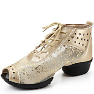 Women's Dance Shoes Sandals Leather +Lace Low Heel Black/Gold/Silver