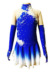 Ice Skating Dress Women's / Girl's Long Sleeve Skating Skirts & Dresses Figure Skating Dress Breathable / Stretch Spandex BlueSkating