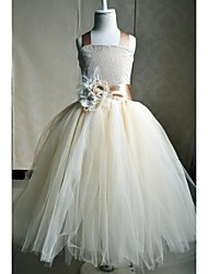 A-line Ankle-length Flower Girl Dress - Silk Sleeveless Square with