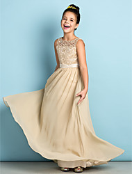 Lanting Bride Floor-length Chiffon / Lace Junior Bridesmaid Dress - Mini Me A-line Scoop with Lace