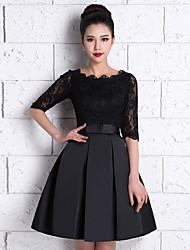 82646e58dc1a Μέχρι το γόνατο Δαντέλα   Σατέν Φόρεμα Παρανύμφων - Γραμμή Α Σχήμα U με  Δαντέλα
