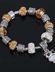 Antique Silver Plated Owl Pendant Beads Strands Bracelet