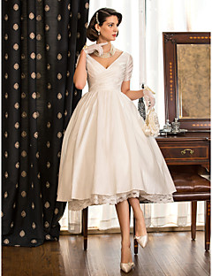 LAN TING BRIDE A-line Princess Wedding Dress - Reception Little White Dress Tea-length V-neck Taffeta with Lace
