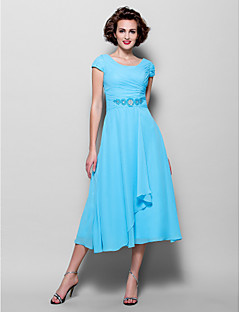 Lanting Bride A-line Plus Size / Petite Mother of the Bride Dress Tea-length Short Sleeve Chiffon with Beading / Side Draping