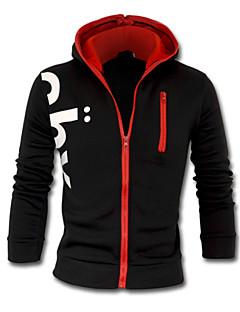 Men's Long Sleeve Hoodie & Sweatshirt,Cotton Blend Print / Solid