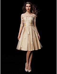 554a16ba9225 LAN TING BRIDE Krój A Suknia ślubna Kolorowe suknie ślubne Do kolan  Łódeczka Tafta Tiul z