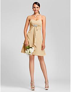 799b604057cb LAN TING BRIDE Μέχρι το γόνατο Στράπλες Σχήμα Καρδιάς Φόρεμα Παρανύμφων -  Σέξι Αμάνικο Σιφόν