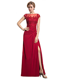 Sheath / Column Mother of the Bride Dress - See Through Floor-length Sleeveless Chiffon with Appliques