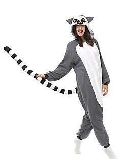 Kigurumi Pajamas Monkey Leotard/Onesie Halloween Animal Sleepwear Gray Patchwork Polar Fleece Kigurumi Unisex Halloween