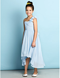 Lanting Bride Asymmetrical Chiffon Junior Bridesmaid Dress - Mini Me A-line One Shoulder with Flower(s) / Criss Cross