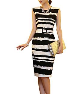 Women's Plus Size Striped Dress,Casual,Cute