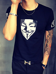 Men's Print Casual / Plus Size T-Shirt,Cotton Short Sleeve-Black / Blue / White