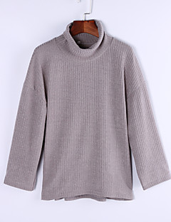 Women's Long Pullover,Solid Gray Turtleneck Long Sleeve Cashmere Fall Opaque Micro-elastic