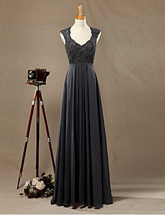 612ff8973615 Επίσημο Βραδινό Φόρεμα Ίσια Γραμμή Λαιμόκοψη V Μακρύ Σιφόν   Δαντέλα με  Δαντέλα