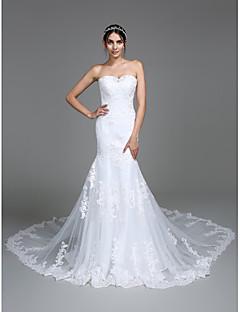 46633fd0b0 Lanting Bride® Syrena Suknia ślubna Tren kapliczny W kształcie serca Tiul z Haft  nakładany