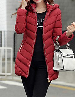 Women's Solid Blue / Pink / Red / White / Black Parka Coat , Sexy / Casual Round Neck Long Sleeve