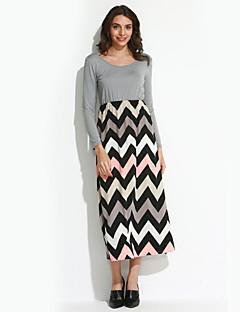 d5169276a527 Γυναικεία Φόρεμα Επίπεδα Στρογγυλή Λαιμόκοψη Μακρύ Μακρυμάνικο Βαμβάκι